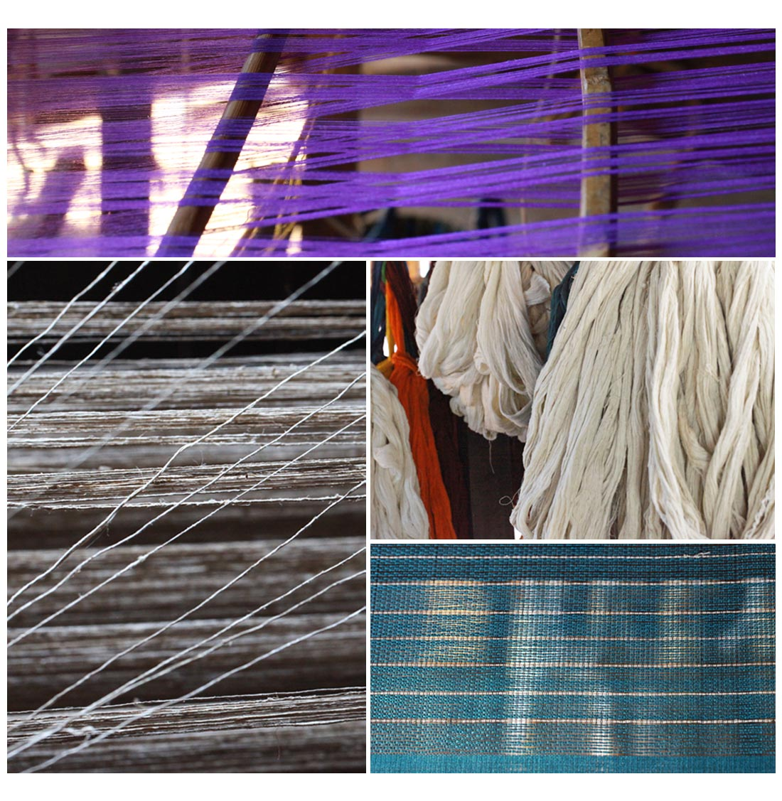 Weaving materials - silk, cotton and lotus fibre, Inle (Squire)