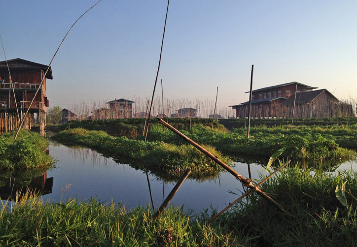 Floating gardens and houses on stilts at Inle, Burma (Myanmar) February 2014 (Kathryn Squire)