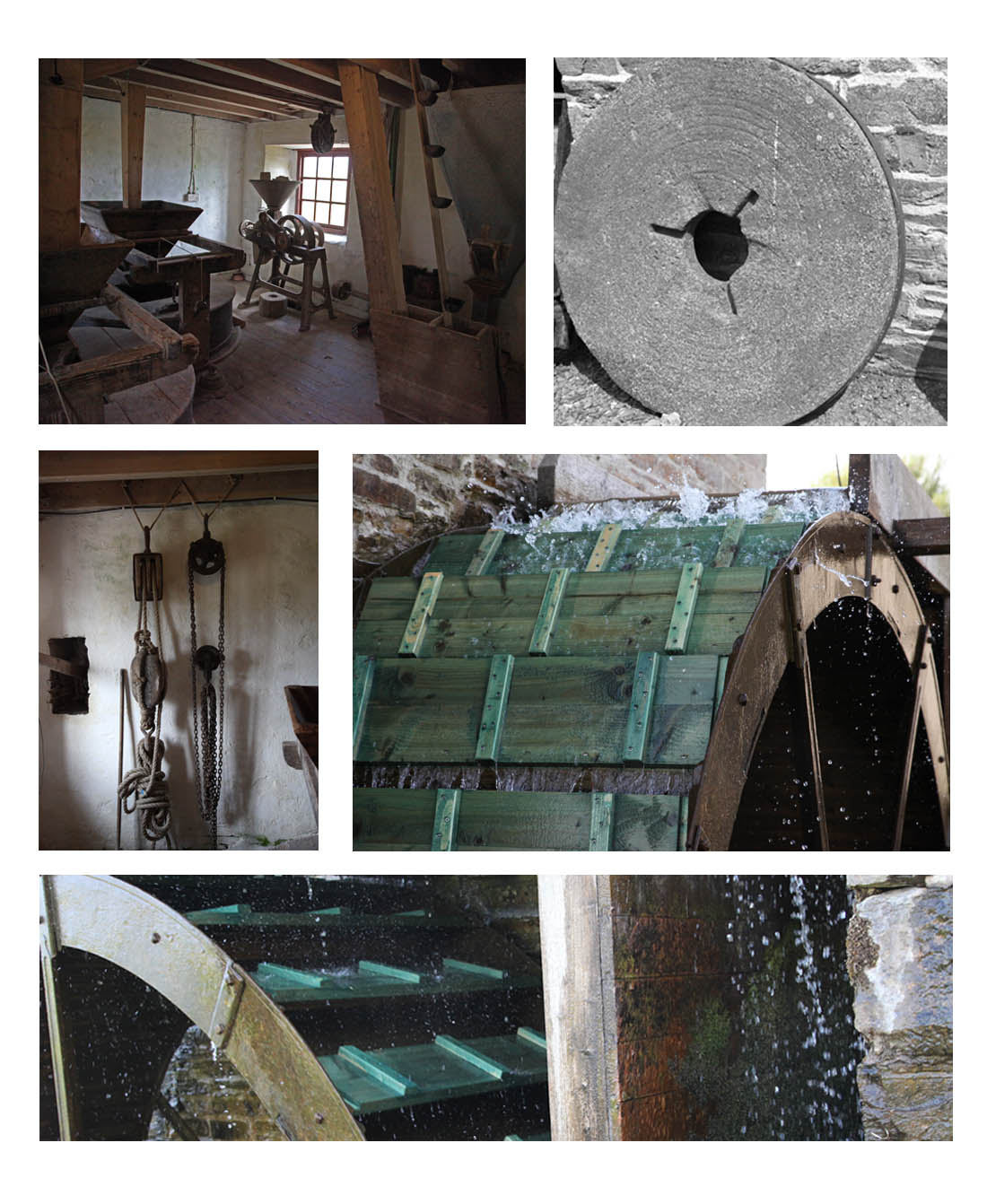 Barony Mills, Birsay Orkney, showing interior, old grinding wheel, tackle, water wheel with new wooden paddles (Squire)