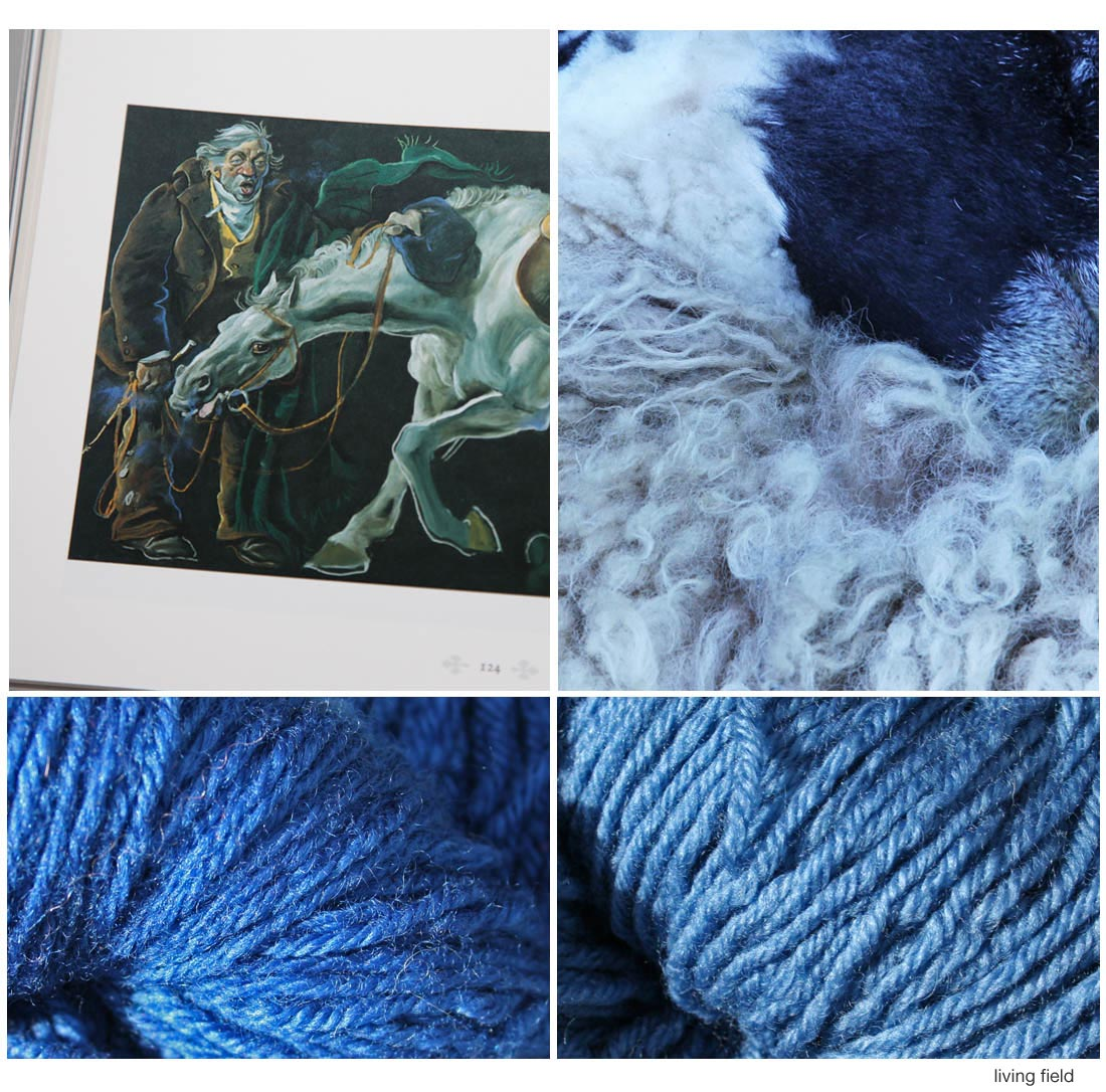 Sheep being sheared of its wool (top right), wool dyed with woad (bottom right) and indigo, and photograph of scene from Gourdie's Tam O'Shanter showing Tam's blue bonnet in hand (Living Field / details of book below)